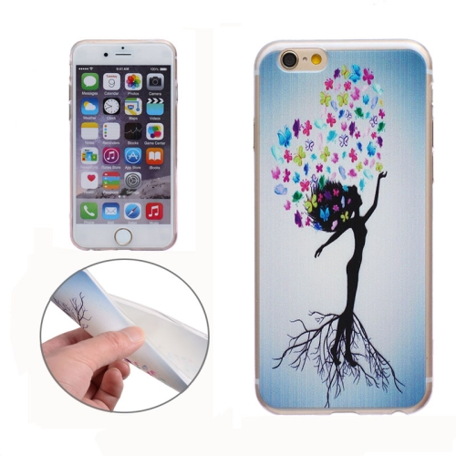 Soft TPU Protective Back Cover for iPhone 6 Plus (Tree Girl)
