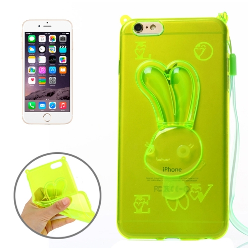 Rabbit Pattern TPU Protective Back Cover for iPhone 6 Plus with Lanyard (Green)