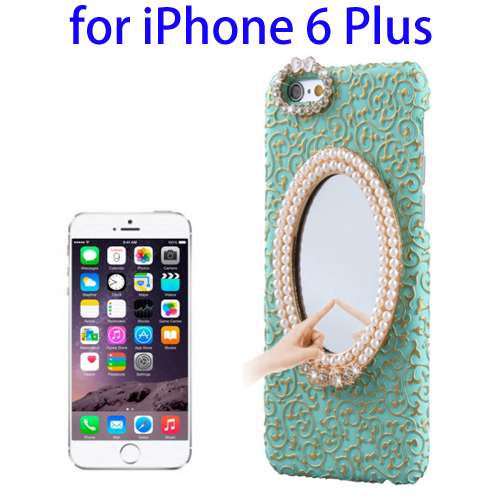 Stereoscopic Diamond Encrusted Mirror & Bowknot Plastic Case for iPhone 6 Plus (Green)