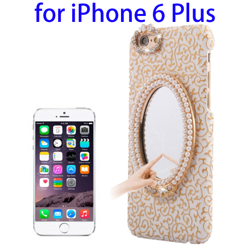 Stereoscopic Diamond Encrusted Mirror & Bowknot Plastic Case for iPhone 6 Plus (Light Gold)