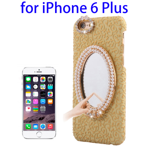 Stereoscopic Diamond Encrusted Mirror & Bowknot Plastic Case for iPhone 6 Plus (Gold)
