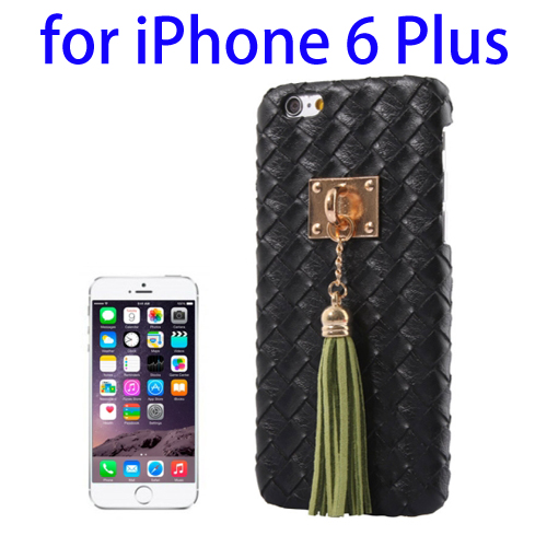 Weave Texture & Stereoscopic Pendant Plastic Back Cover Case for iPhone 6 Plus (Black)