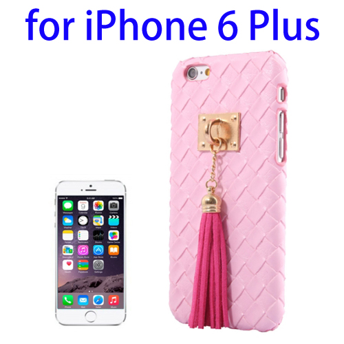 Weave Texture & Stereoscopic Pendant Plastic Back Cover Case for iPhone 6 Plus (Pink)