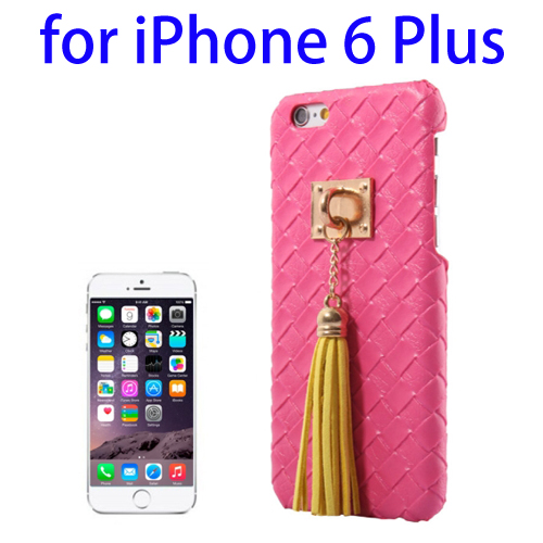 Weave Texture & Stereoscopic Pendant Plastic Back Cover Case for iPhone 6 Plus (Rose)