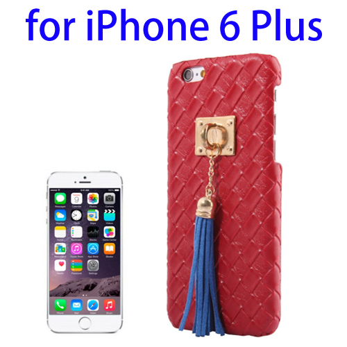 Weave Texture & Stereoscopic Pendant Plastic Back Cover Case for iPhone 6 Plus (Red)