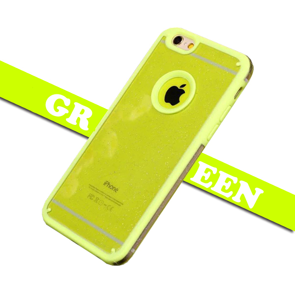 Shimmering Powder Style TPU and PC Protective Case Cover for iPhone 6 Plus with Lanyard (Green)