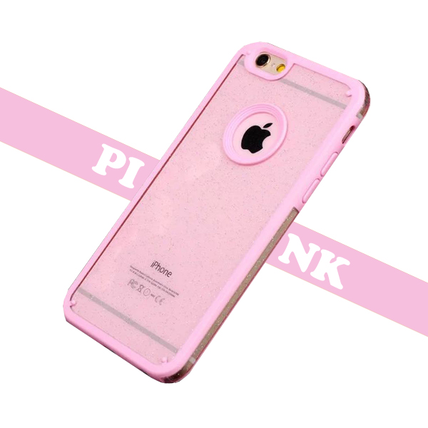 Shimmering Powder Style TPU and PC Protective Case Cover for iPhone 6 Plus with Lanyard (Pink)