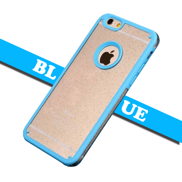 Shimmering Powder Style TPU and PC Protective Case Cover for iPhone 6 Plus with Lanyard (Blue)