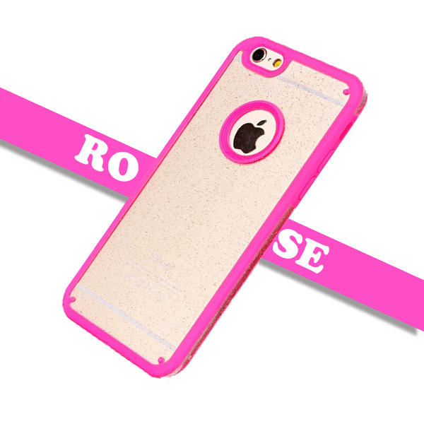 Shimmering Powder Style TPU and PC Protective Case Cover for iPhone 6 Plus with Lanyard (Rose)