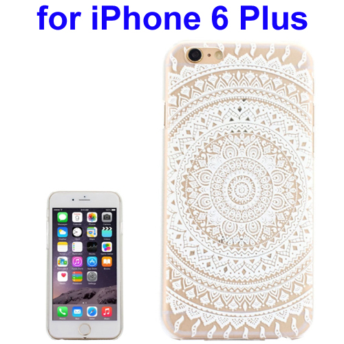 Ultra-Thin Carved Flower Pattern Transparent Frame PC Protective Case for iPhone 6 Plus (Pattern 1)