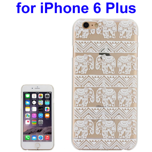 Ultra-Thin Carved Elephant Pattern Transparent Frame PC Protective Case for iPhone 6 Plus (Pattern 2)