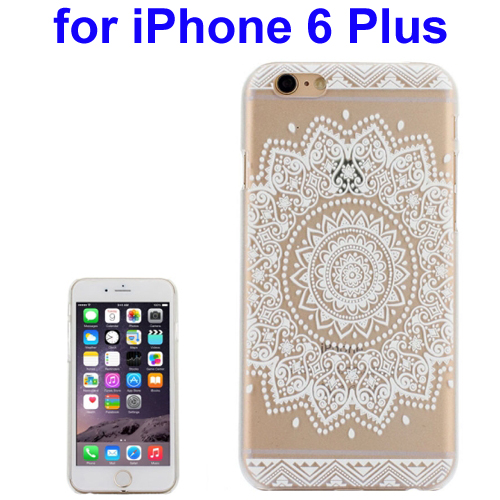 Ultra-Thin Carved Flower Pattern Transparent Frame PC Protective Case for iPhone 6 Plus (Pattern 3)