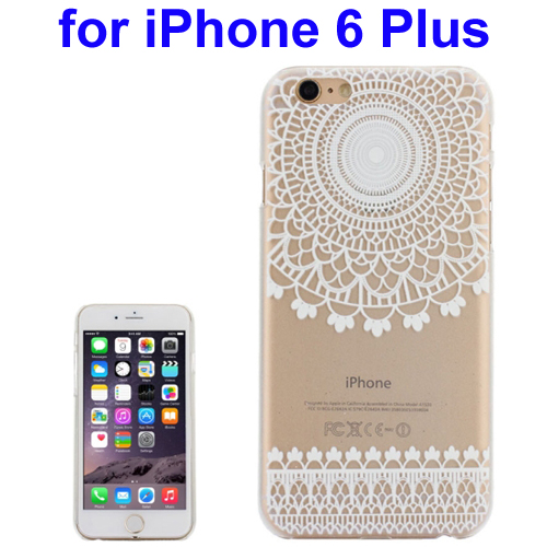 Ultra-Thin Carved Flower Pattern Transparent Frame PC Protective Case for iPhone 6 Plus (Pattern 4)