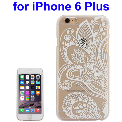 Ultra-Thin Carved Flower Pattern Transparent Frame PC Protective Case for iPhone 6 Plus (Pattern 5)
