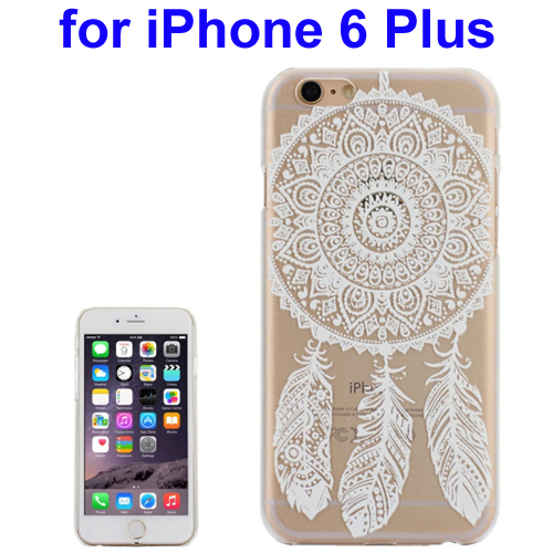 Ultra-Thin Carved Flower Pattern Transparent Frame PC Protective Case for iPhone 6 Plus (Pattern 6)
