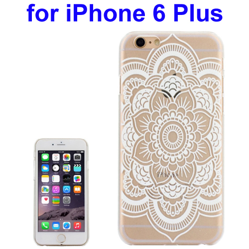 Ultra-Thin Carved Flower Pattern Transparent Frame PC Protective Case for iPhone 6 Plus (Pattern 7)