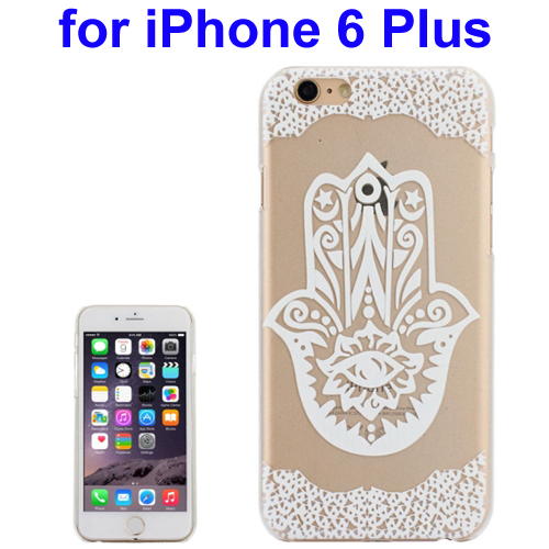Ultra-Thin Carved Flower Pattern Transparent Frame PC Protective Case for iPhone 6 Plus (Pattern 8)