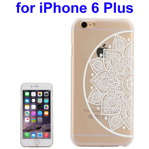 Ultra-Thin Carved Flower Pattern Transparent Frame PC Protective Case for iPhone 6 Plus (Pattern 9)