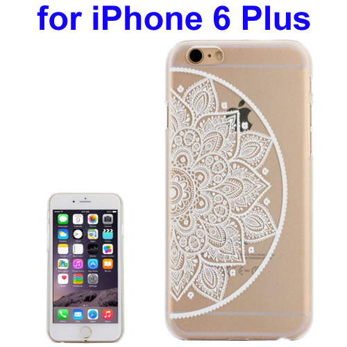 Ultra-Thin Carved Flower Pattern Transparent Frame PC Protective Case for iPhone 6 Plus (Pattern 10)