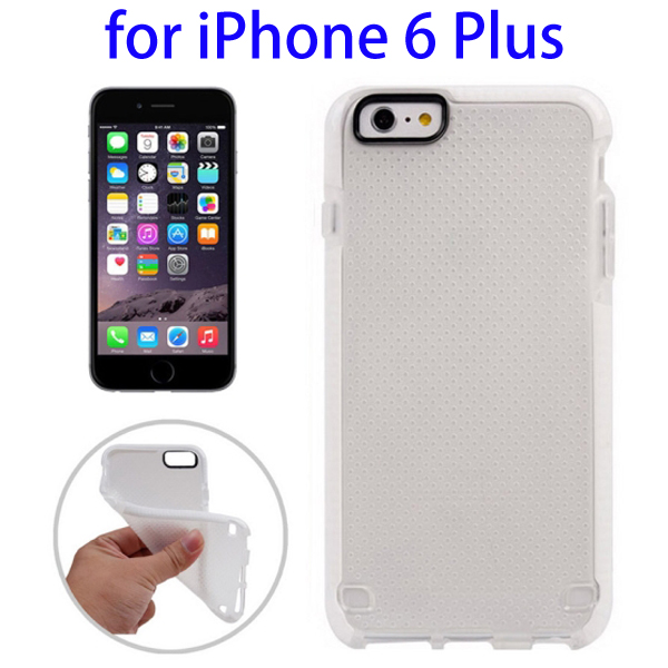 Ultrathin Concise Style Basketball Texture Protective TPU Case for iPhone 6 Plus (White)