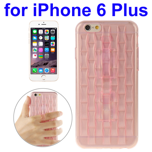 Ice Sculptures Design TPU Protective Back Cover for iPhone 6 Plus with Handle (Pink)