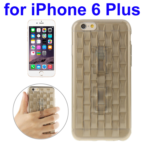 Ice Sculptures Design TPU Protective Back Cover for iPhone 6 Plus with Handle (Grey)