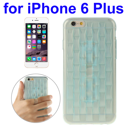 Ice Sculptures Design TPU Protective Back Cover for iPhone 6 Plus with Handle (Blue)