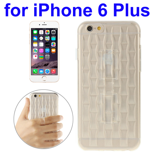 Ice Sculptures Design TPU Protective Back Cover for iPhone 6 Plus with Handle (White)