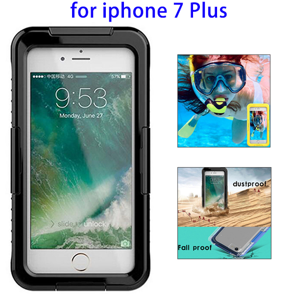 World Premiere IPX8 Waterproof Silicone Cover Case for iPhone 7 Plus (Black)