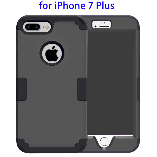 Separable Contrast Color PC Silicone Combination Case for iPhone 7 Plus (Black/Grey)