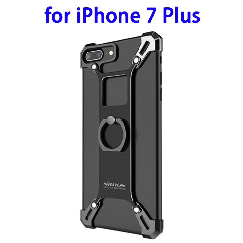 NILLKIN Aluminium Alloy Protective Case Case for iPhone 7 Plus with Zinc Alloy Ring Holder (Black)