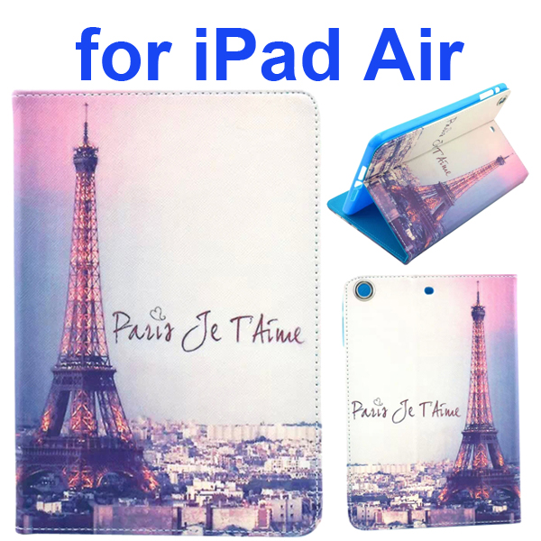Color Printing Style PU Leather Flip Smart Cover for iPad Air (Eiffel Tower)