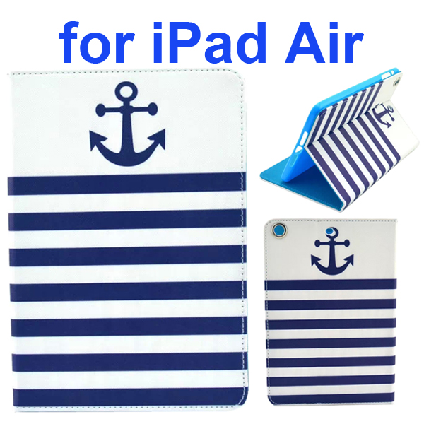 Color Printing Style PU Leather Flip Smart Cover for iPad Air (Navy Sailor Anchor)
