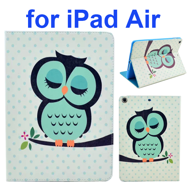 Color Printing Style PU Leather Flip Smart Cover for iPad Air (Owl Pattern)