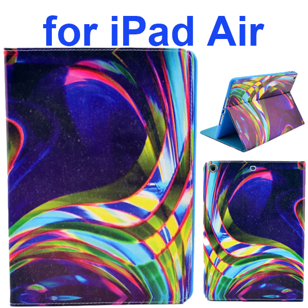 Color Printing Style PU Leather Flip Smart Cover for iPad Air (Colorful Lights Shine)
