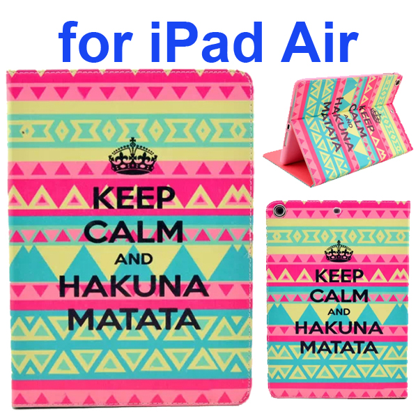 Color Printing Style PU Leather Flip Smart Cover for iPad Air (Tribal Keep Calm and Hakuna Matata)