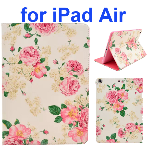 Color Printing Style PU Leather Flip Smart Cover for iPad Air (Flower Pattern)
