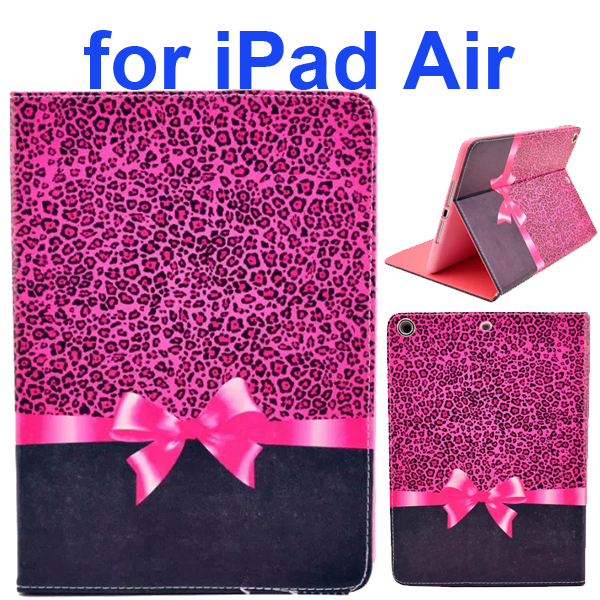 Color Printing Style PU Leather Flip Smart Cover for iPad Air (Red Leopard Bow)