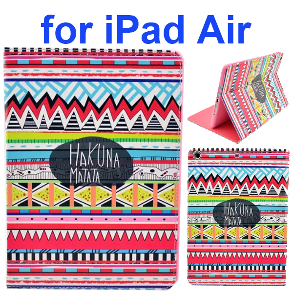 Color Printing Style PU Leather Flip Smart Cover for iPad Air (Aztec Tribal Hakuna Matata)