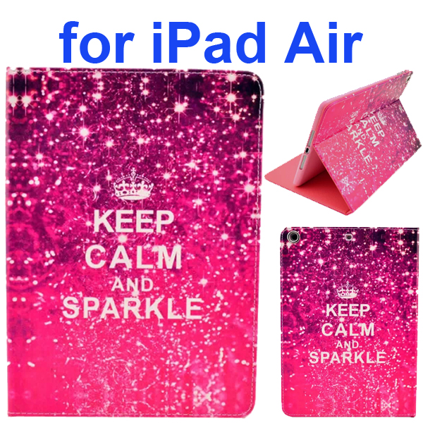 Color Printing Style PU Leather Flip Smart Cover for iPad Air (Keep Calm and Sparkle)