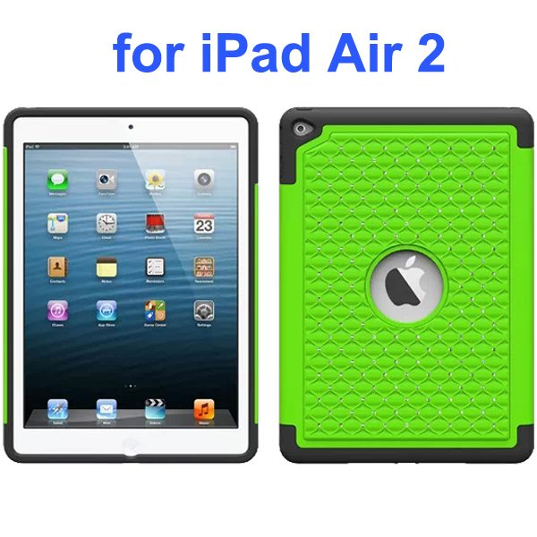 Bling Bling Style Silicone and PC Hybrid Shockproof Case for iPad Air 2 (Green)