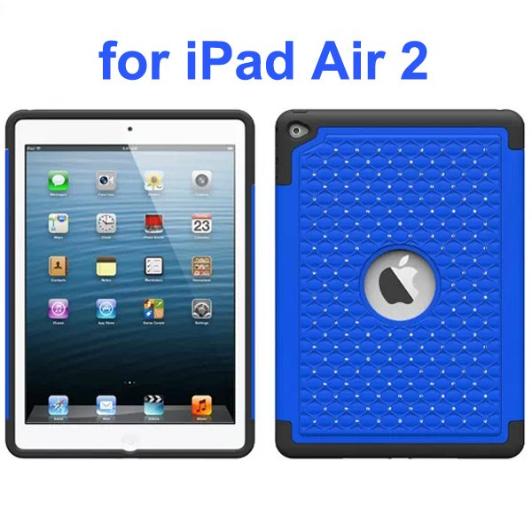 Bling Bling Style Silicone and PC Hybrid Shockproof Case for iPad Air 2 (Blue)