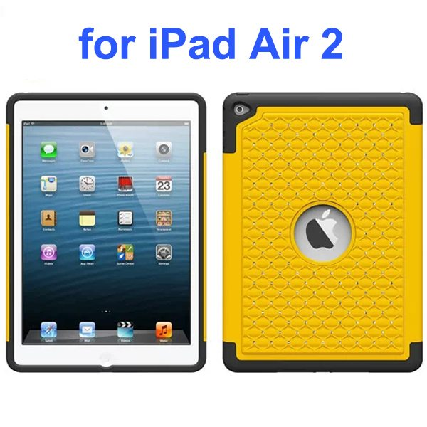 Bling Bling Style Silicone and PC Hybrid Shockproof Case for iPad Air 2 (Yellow)