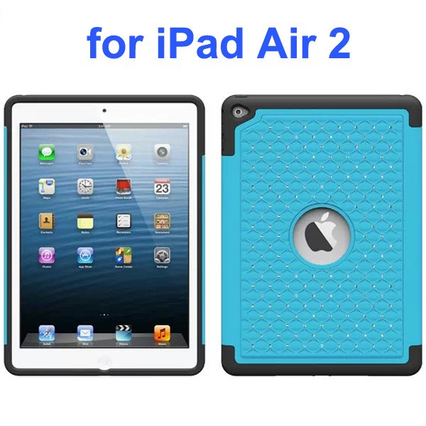 Bling Bling Style Silicone and PC Hybrid Shockproof Case for iPad Air 2 (Light Blue)