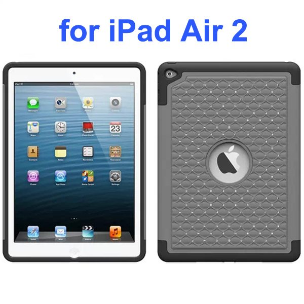 Bling Bling Style Silicone and PC Hybrid Shockproof Case for iPad Air 2 (Grey)