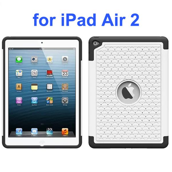 Bling Bling Style Silicone and PC Hybrid Shockproof Case for iPad Air 2 (White)