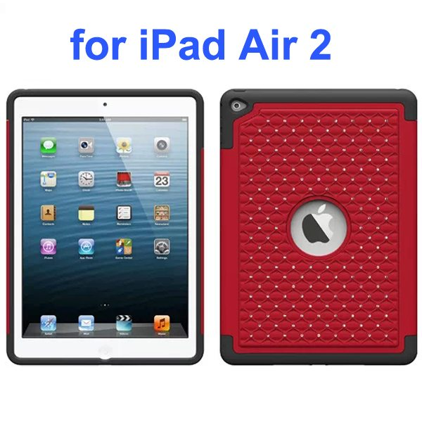 Bling Bling Style Silicone and PC Hybrid Shockproof Case for iPad Air 2 (Red)