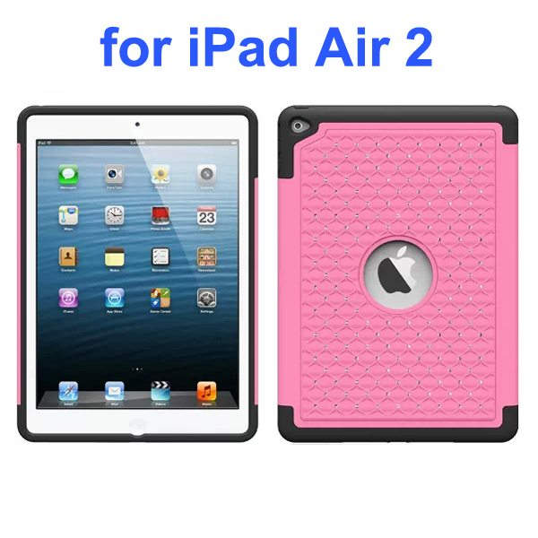 Bling Bling Style Silicone and PC Hybrid Shockproof Case for iPad Air 2 (Pink)