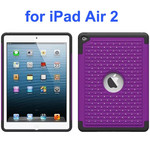 Bling Bling Style Silicone and PC Hybrid Shockproof Case for iPad Air 2 (Purple)