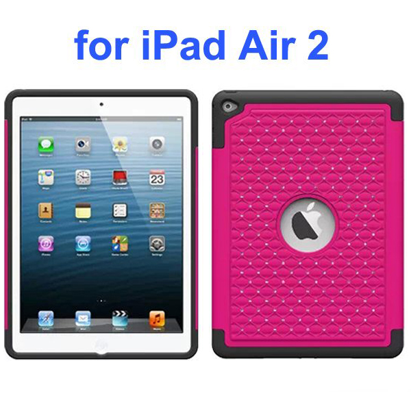 Bling Bling Style Silicone and PC Hybrid Shockproof Case for iPad Air 2 (Rose)